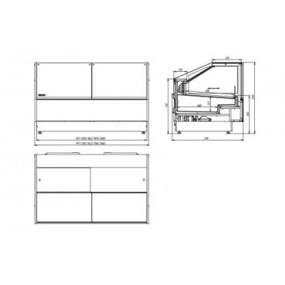 Чертеж холодильной витрины кубической GRACIA D (Грация) FG 1,56. Сделать заказ на apricot.