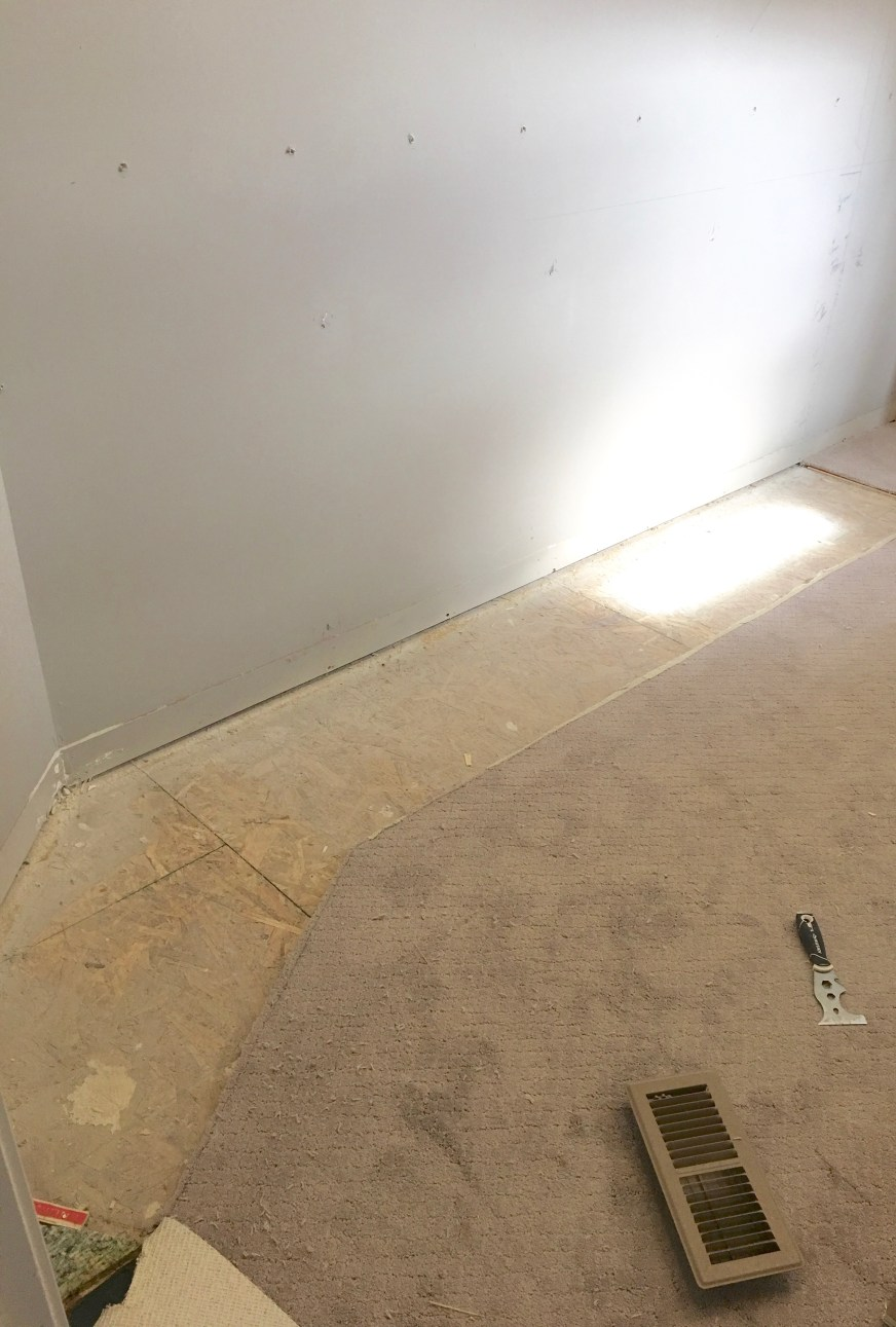 How to cut carpet for cabinets