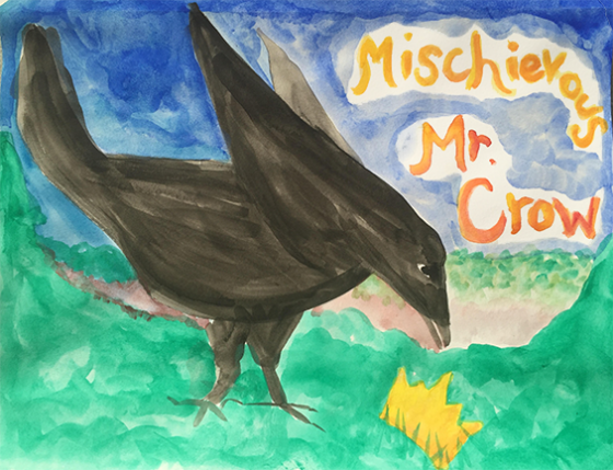 """Mischievous Mr. Crow from """"Jemi and the Lost Crown"""" on the April Eight Songs & Stories Podcast at aprileight.com"""