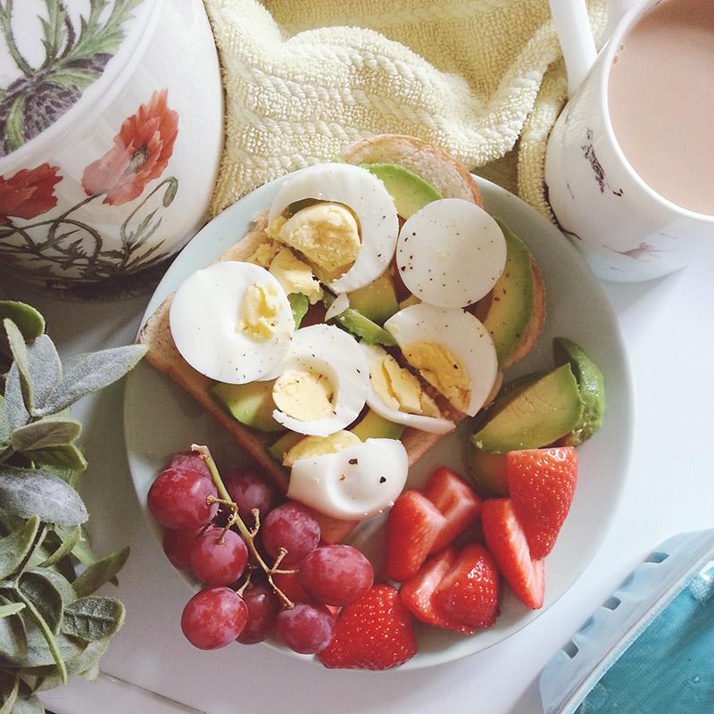 Avocado, Egg & Honey on Toast Breakfast