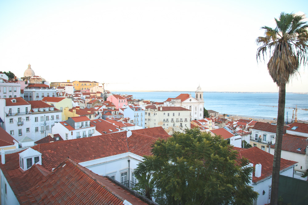 Portas do Sol Viewpoint in Alfama, Lisbon, Portugal
