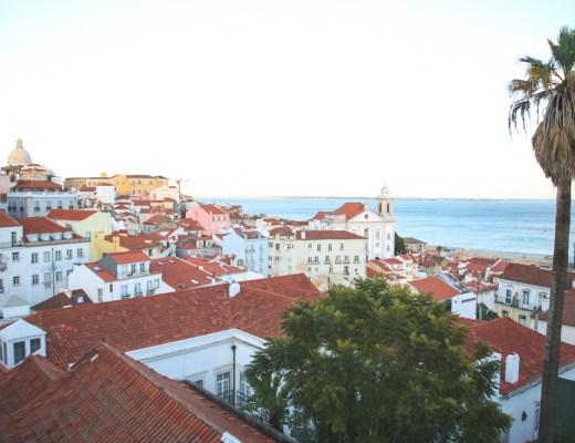 Portas do Sol Viewpoint in Alfama, Lisbon, Portugal