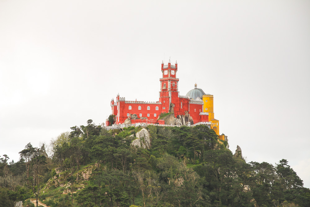 View of Pena Palace from the Moorish Castle Walls in Sintra, Portugal