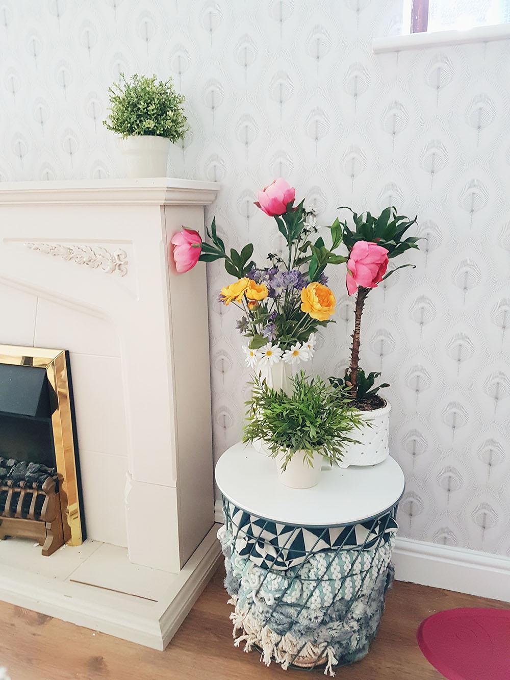 IKEA fake flowers, Laura Ashley Wallpaper, Home Decor