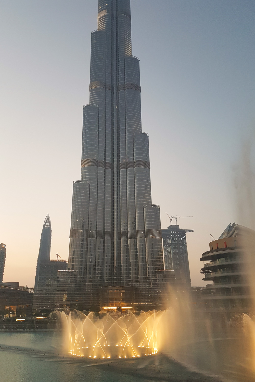 Dubai Fountain and Burj Khalifa at Sunset