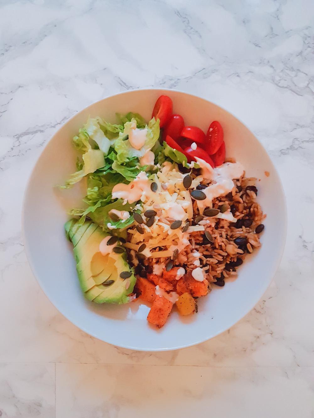 Vegan Burrito Bowl - Avocado, Lettuce, Tomatoes, Wholegrain Rice, Roasted Butternut Squash, Vegan Coconut Yogurt and Vegan Cheese