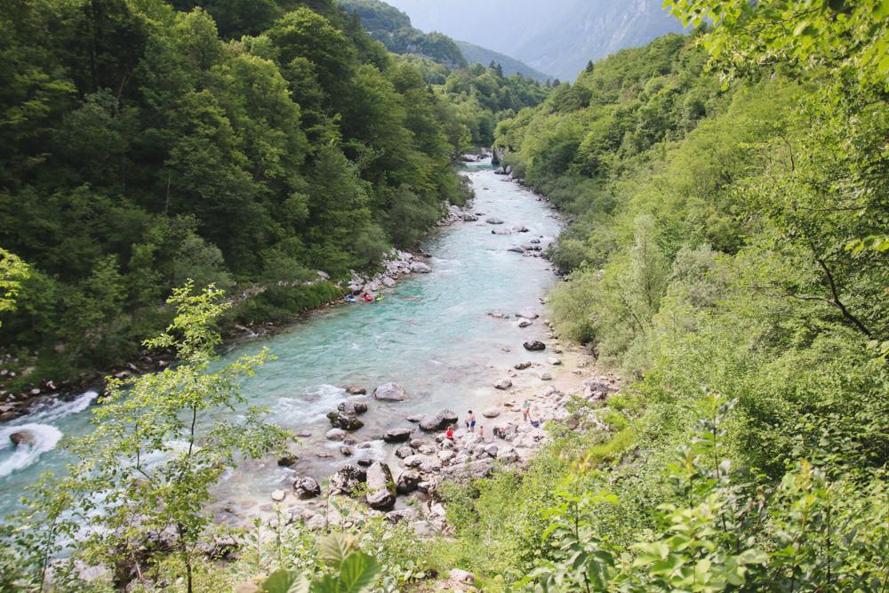Soca River in Kobarid, Slovenia