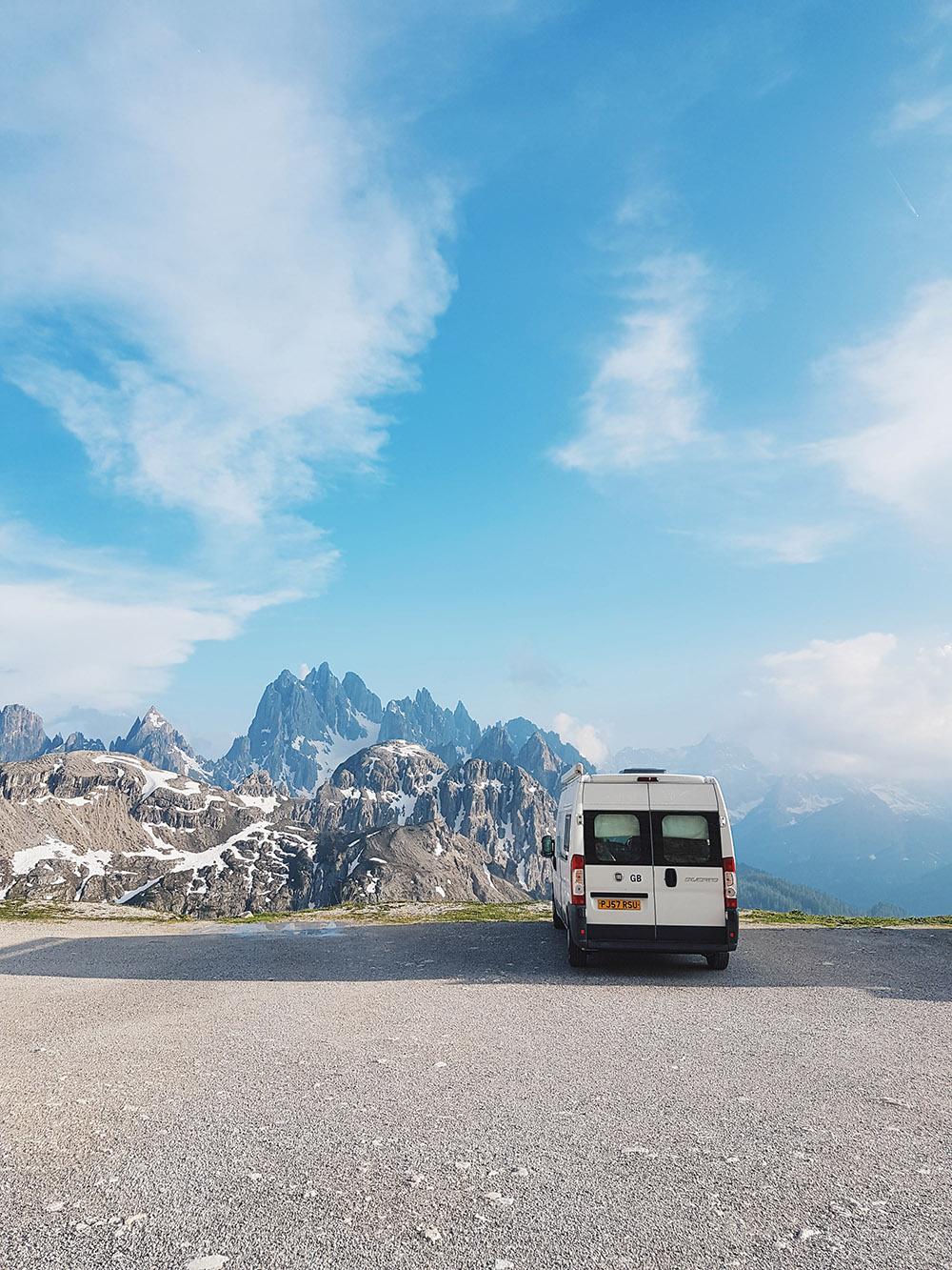 Campervan at the top of Tre Cime di Lavaredo in the Dolomites