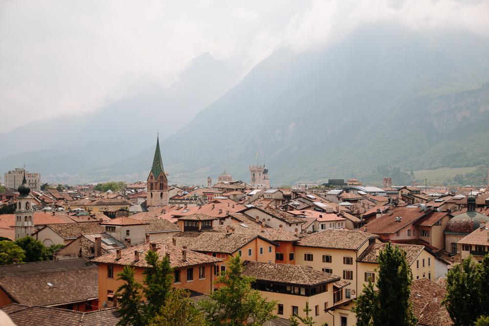 View of Trento from Castello del Buonconsiglio in Trento Italy