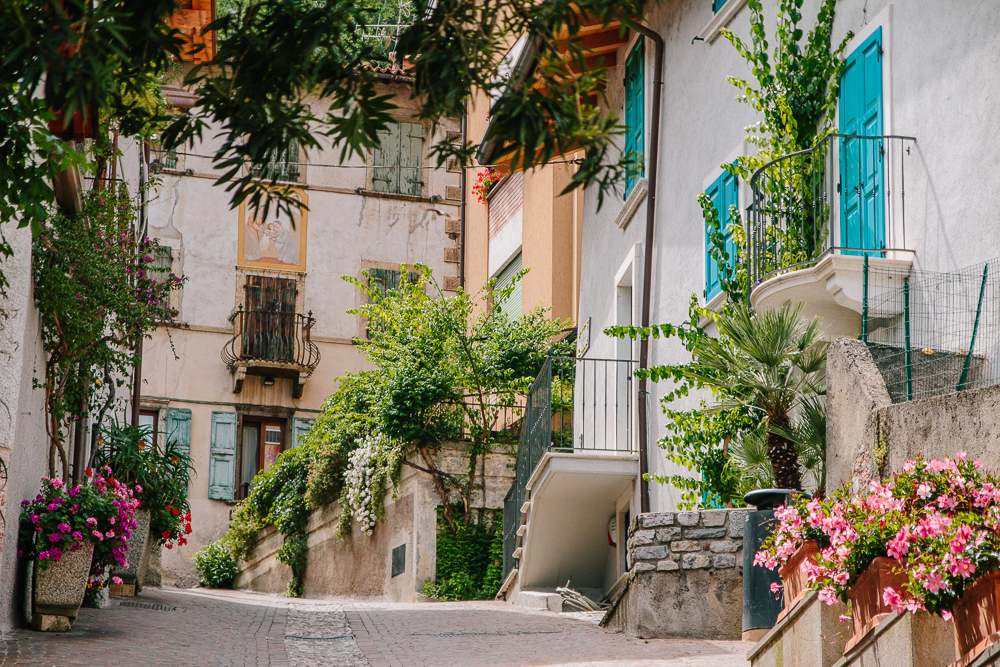 A colourful street in Limone, Lake Garda