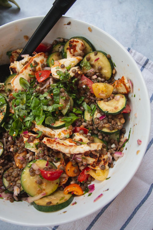 Summer Courgette, Lentil & Halloumi Salad Recipe