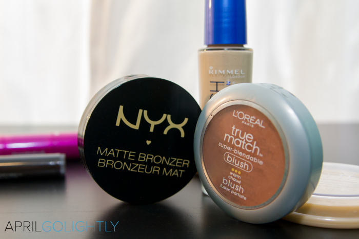 NYX matte bronzer and loreal true match blush