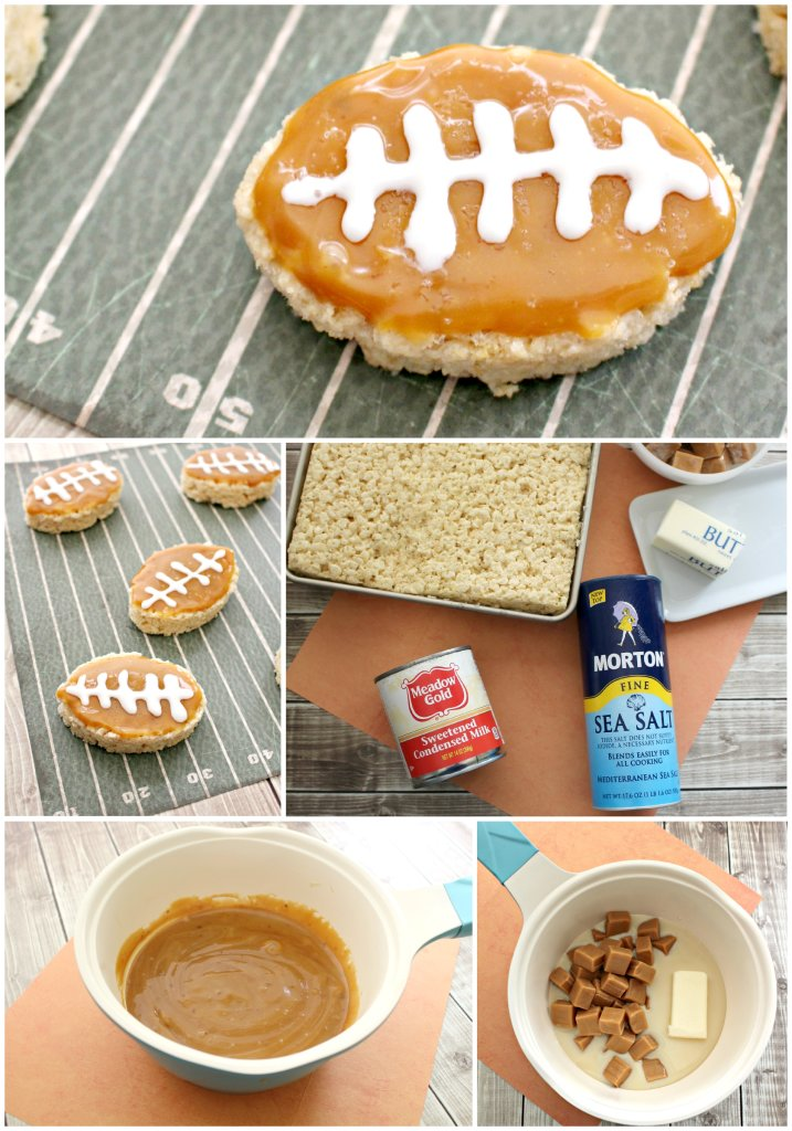Salted Caramel Football Rice Krispies Treats perfect for Football game treats