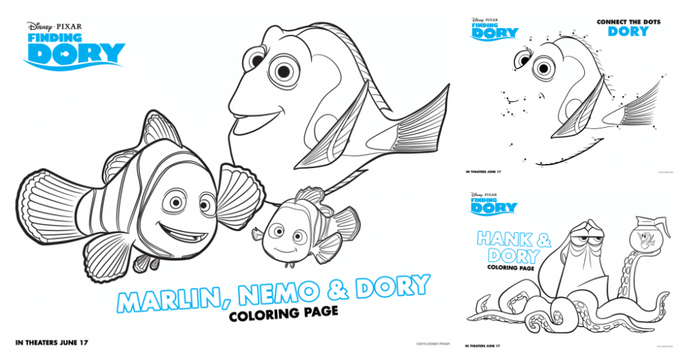 Finding Dory Party Coloring Sheets