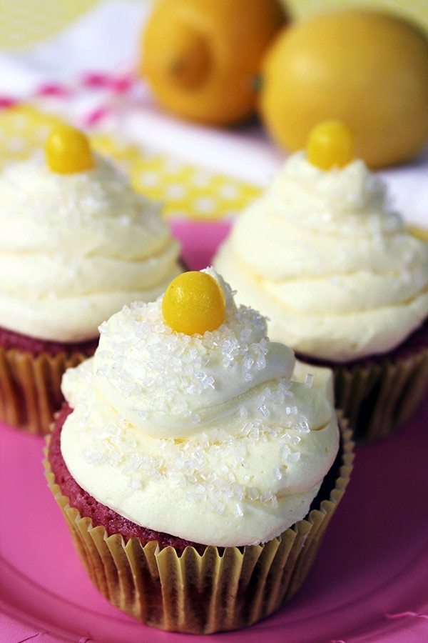 Strawberry Lemonade Cupcakes recipe with a lemon drop candy on top