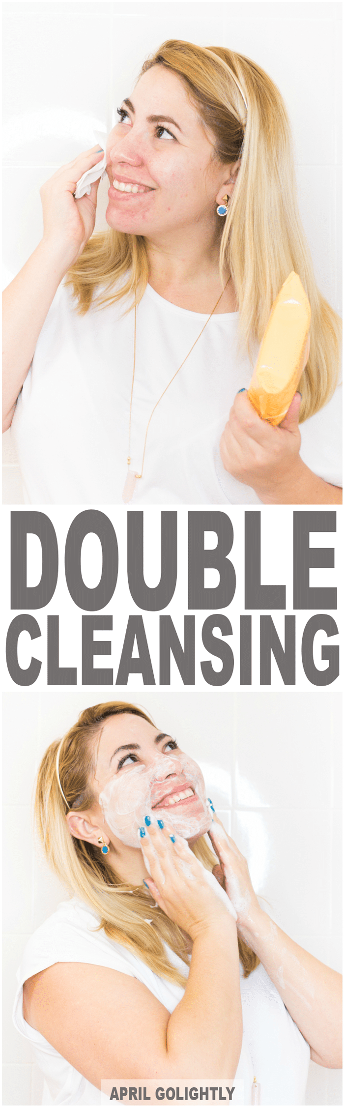 Double Cleanse Skin Care with makeup removing wipes and grapefruit foaming cleanser