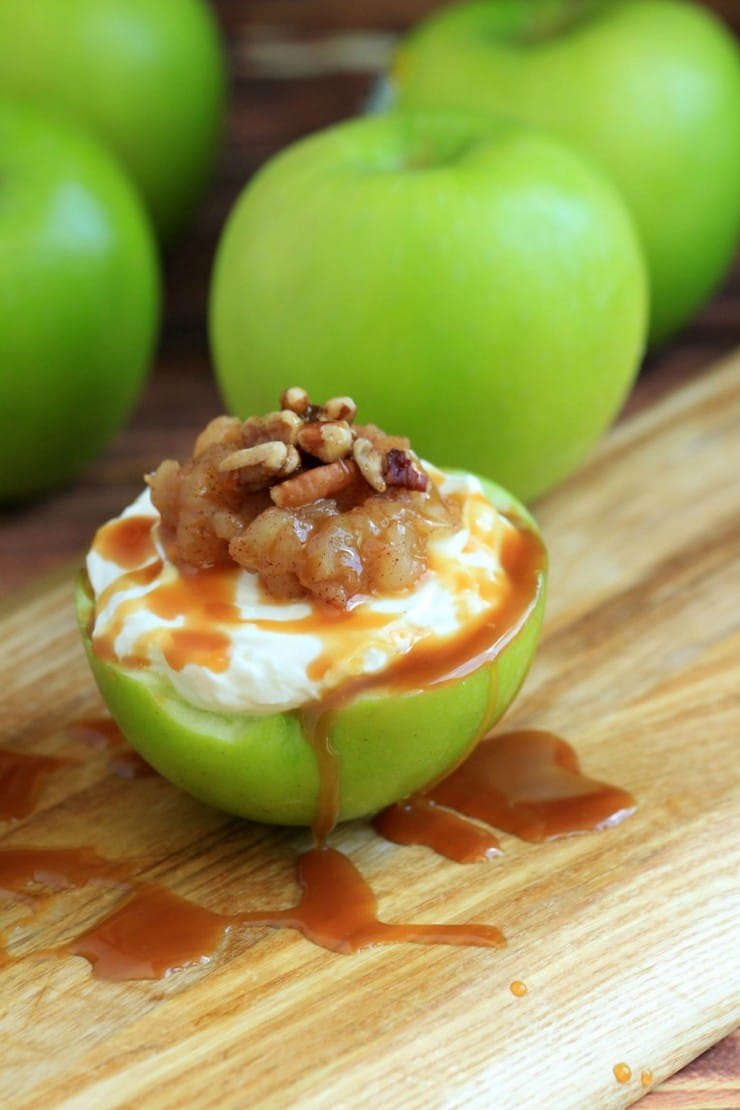 2 easy apple recipe - cheese cake stuffed apples recipe with caramel