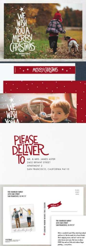Christmas Card with family and Christmas tree