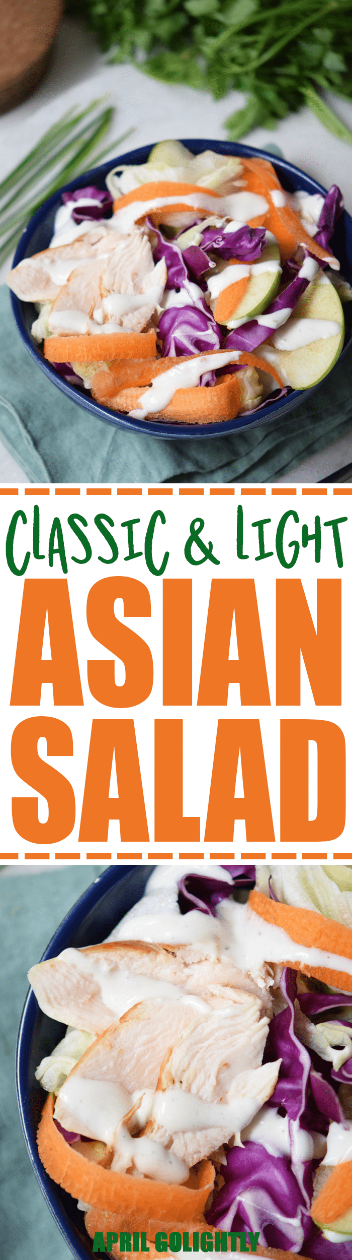 Classic Asian Salad recipe perfect for lunch or a light dinner made with cabbage, chicken breast, soy sauce, and greek yogurt