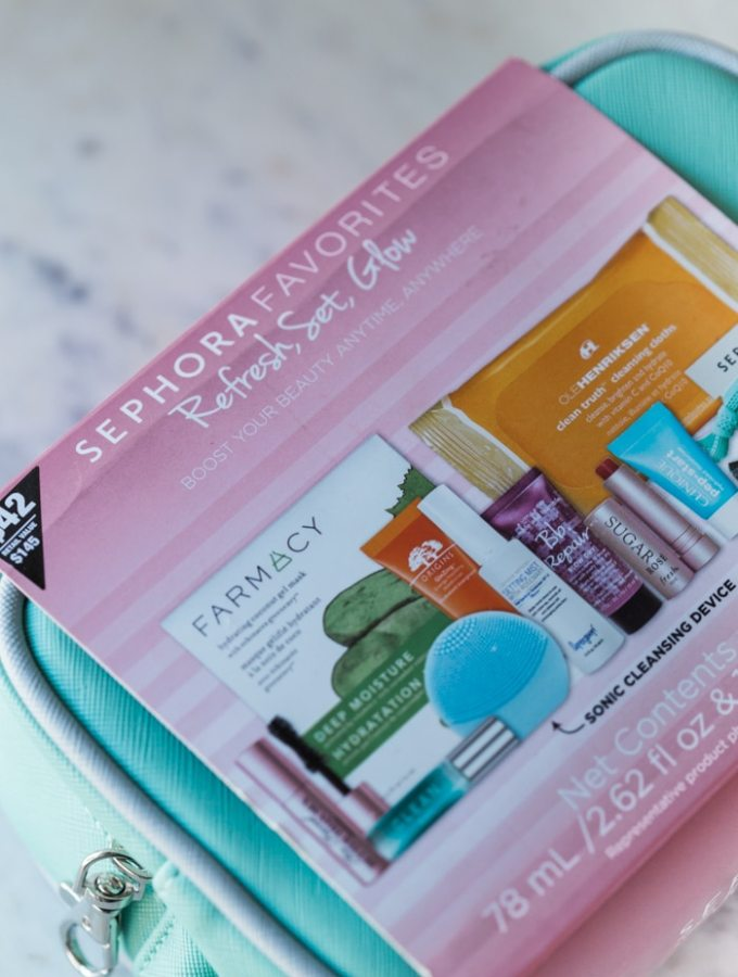 Sephora Favorites Refresh, Set, Glow Kit is sold exclusively at JCPenney with a Mini Foreo, Farmacy Coconut Sheet Mask, Origins GinZing Moisturizer, & more
