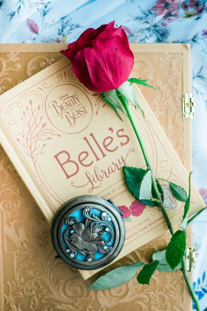 Beauty and the Beast Gift Guide with books, journals, and compacts