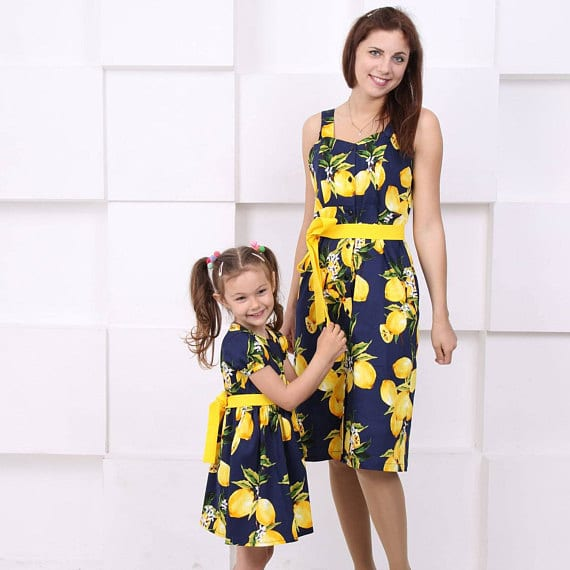 Lemon print fruit dress for mom and daughter matching