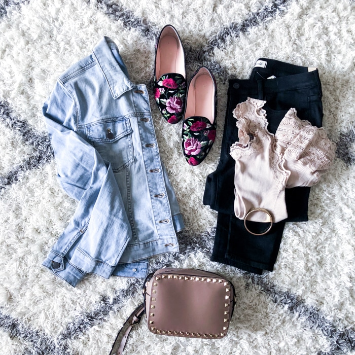 Winter Fashion for Women with high waisted skinny jeans, lace tank, jean jackets, kate spade loafers and rockstud bag (1 of 1)