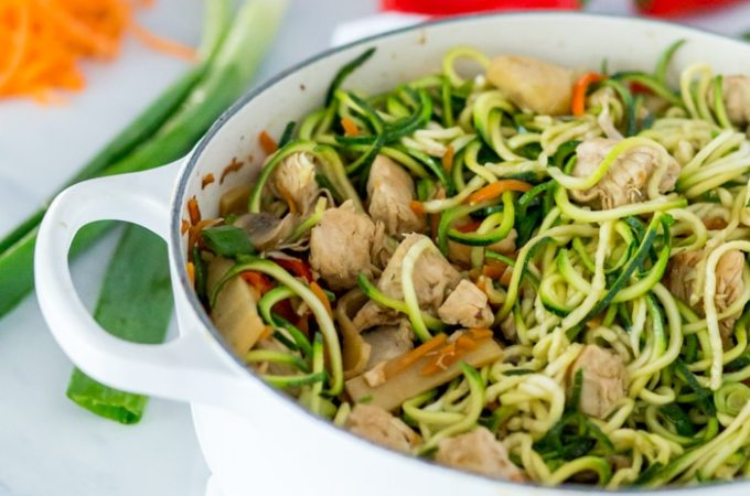 Vegan Lo Mein Recipe with Zucchini Noodle Pasta