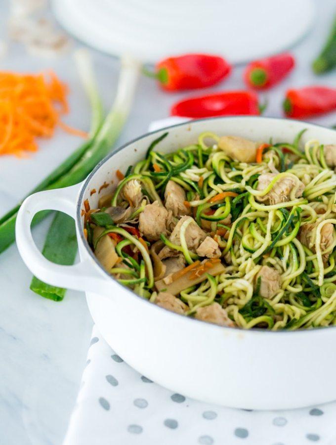 Vegan Lo Mein Recipe with Zucchini Noodle Pasta