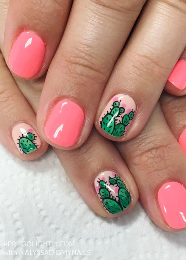 Cactus Nail Designs for Summer