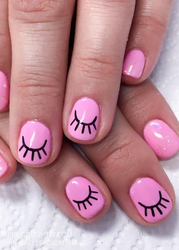 Pink Eyelash Nail Art Nails