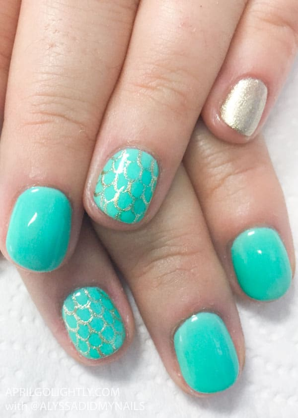 Mint Green Mermaid Nails designs for summer