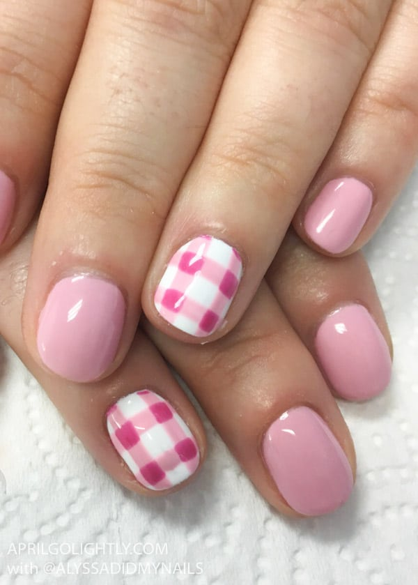 Gingham Nails Design using gel polish