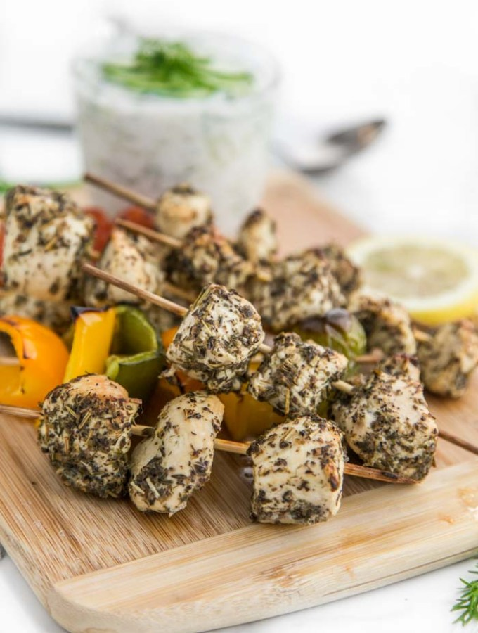 Chicken Kabobs in the Oven with Homemade Tzatziki Sauce