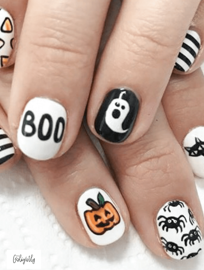 Halloween Nail Designs with Boom, Pumpkin Jackolantern, spiders, cats stripe and candy corn