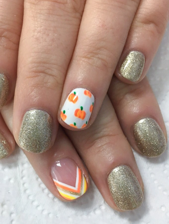 Thanksgiving Pumpkin Nail Art Design for fall