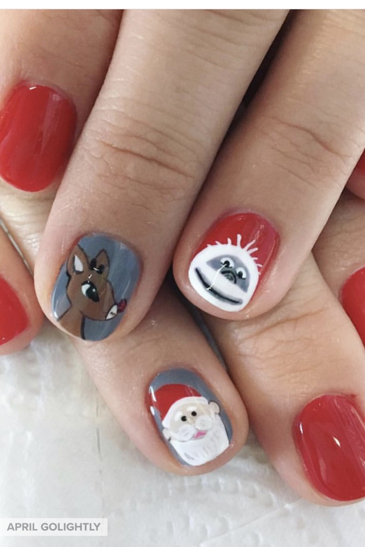 Rudolf the Red Nose Reindeer Nails