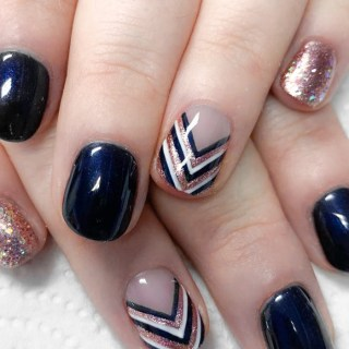 Navy and Rose Gold Nails Chevron
