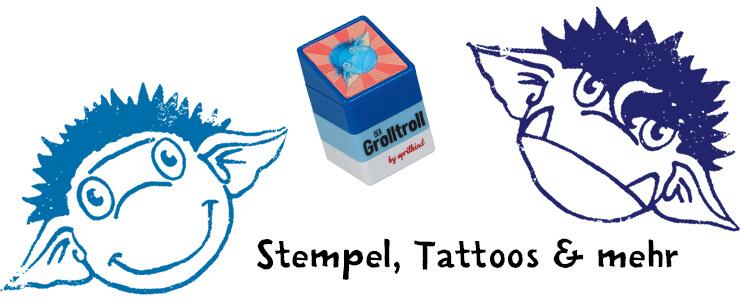 Grolltroll-Stempel mit zwei verschiedenen Motiven