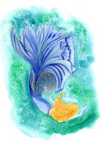 """Allyson, watercolour, 16x12"""", mermaid"""