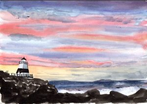 Margaretsville Lighthouse at Sunset, watercolour, 10x7""