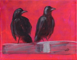 Red Alert, acrylic on canvas, 11x14, crows
