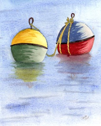 Playing with the Buoys, watercolour on panel, 8x10""