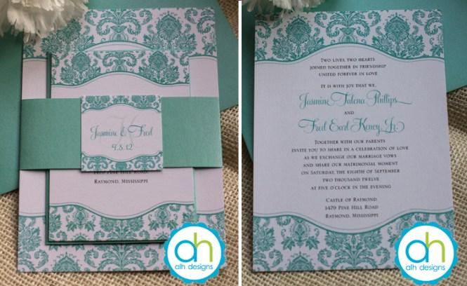 Tiffany Blue And Grey Wedding Invitation
