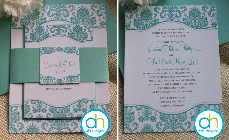 Previous Next Damask Tiffany Blue Wedding Invitation