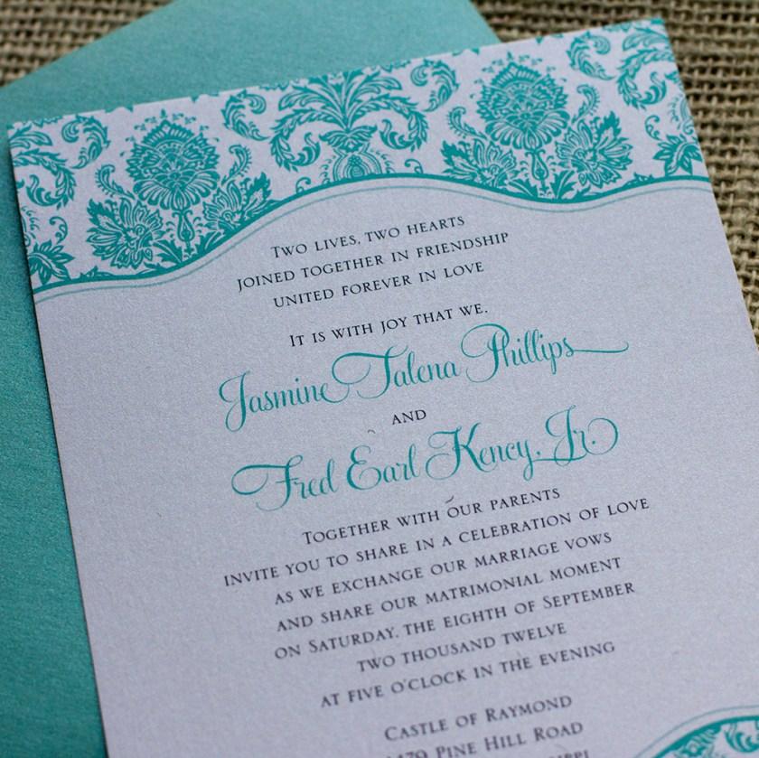 Tiffany Wedding Invitation Blue Green