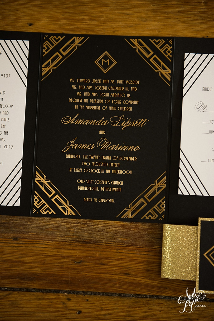 Amanda Jamess Gold Foil Art Deco Wedding Invitation