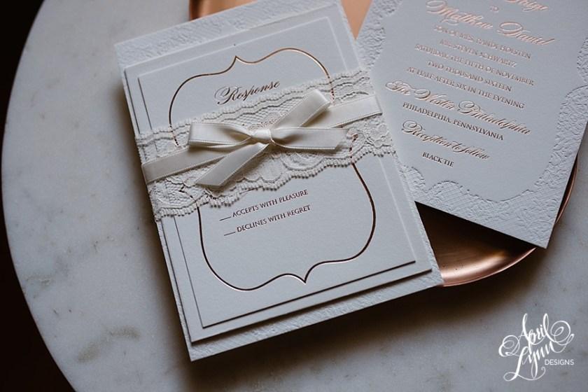 April Lynn Designs Tracie Matt Rose Gold Lace Deboss Wedding Invitation Elegant Westin Philadelphia Black Tie