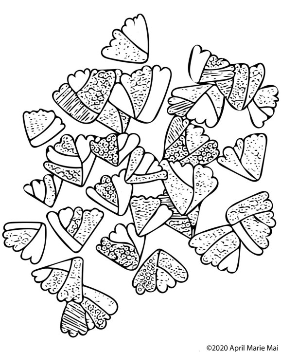 Abstracted Adiantum Fern Coloring Page