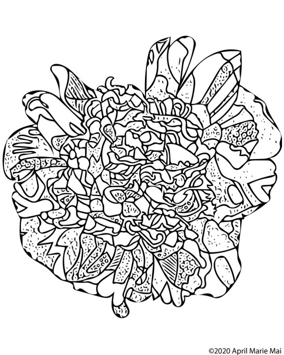 White Peony Coloring Page